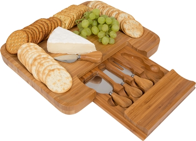 Bamboo Cheese Serving Tray With Hide Away Utensil Set By