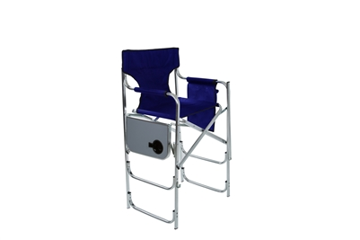 aluminum frame tall metal director 39 s chair with side table by trademark innovations blue. Black Bedroom Furniture Sets. Home Design Ideas