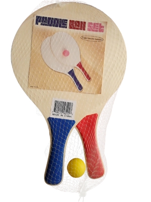 Wooden Paddle Ball Game Paddle Ball Beach Ball Game Wooden Set of 41 Paddles Blue Red 1
