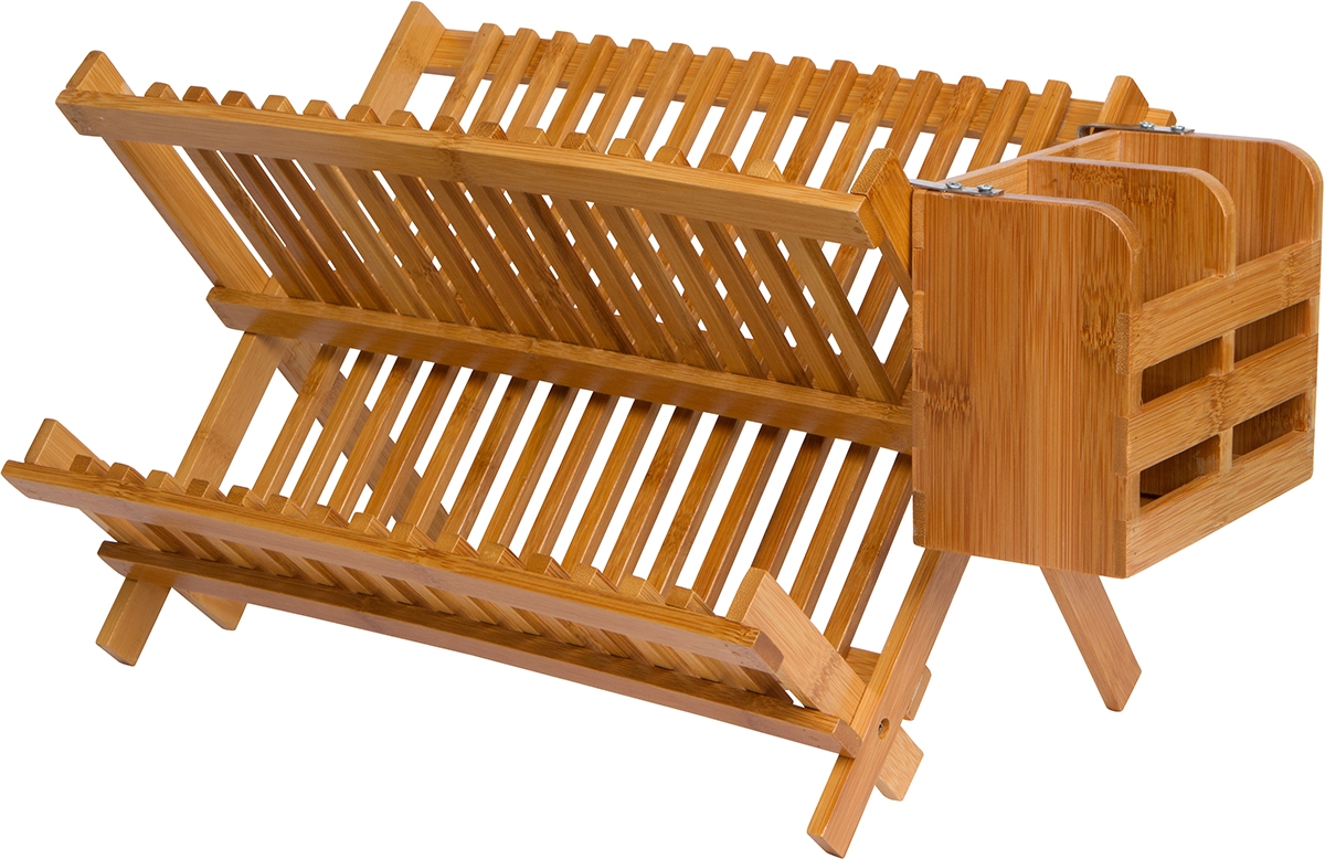 Folding Dish Rack with Utensil Holder   Made From Natural Bamboo
