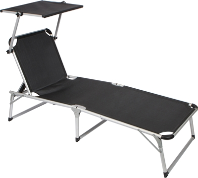 Adjule Beach Patio Lounge Chair With Sun Shade By Trademark Innovations Black