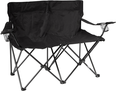 Loveseat Style Double Camp Chair With Steel Frame By Trademark Innovations Black 31 5 H